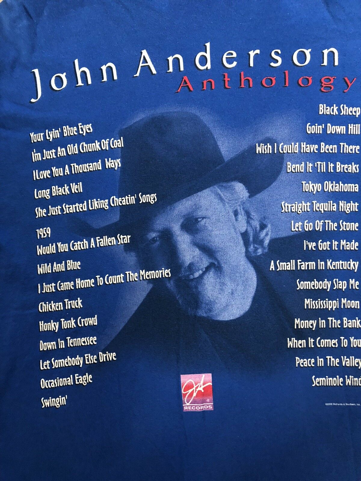 Org.2003 Legendary Country Singer John Anderson Anthology Album RARE T-shirt L