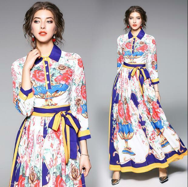 Ladies Spring Rural Style Long Sleeve Collar Maxi Dress Floral Shirt Dress