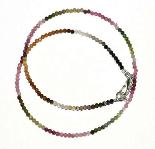 """925 Sterling Silver Multi Tourmaline Stone 2mm Beads 12-40/"""" Strand Necklace G254"""