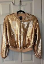 Bar Iii Womens Rose Gold Sequined Lightweight Short Bomber Jacket Coat S