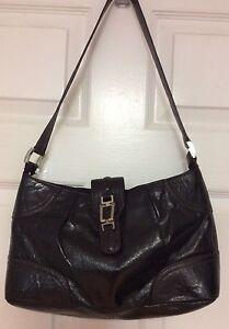 b4dd0b97eb51 Etienne Aigner women s handbag black tumbled leather shoulder strap ...