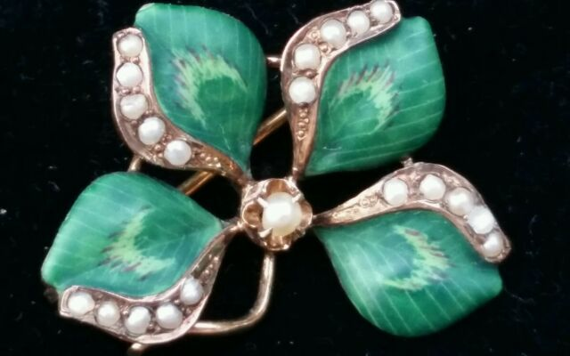 Antique 10k Yellow  Gold Enamel Pearl Clover Shamrock Brooch Pin Estate Jewelry