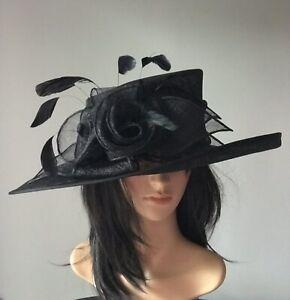 NIGEL RAYMENT BLACK DISC FASCINATOR WEDDING ASCOT HAT FORMAL MOTHER OF THE BRIDE