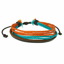 Surfer Style Men's Bracelet Leather & Cord Brown, Blue & Orange Bright Wristband