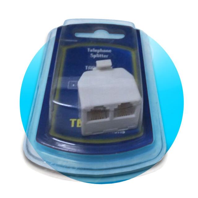 telefon adapter T verteiler 6p4c rj11 splitter 1x stecker an 2x buchse weiß