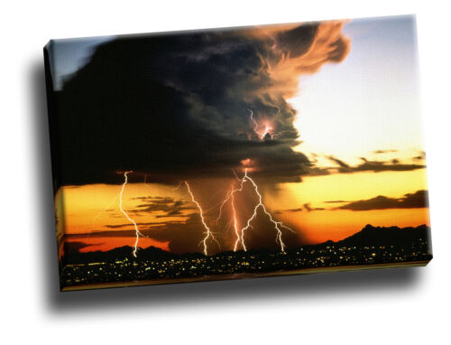 Lightning Storm Over City Lights Giclee Canvas Picture Art