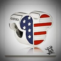 Authentic Genuine Pandora Silver Mickey Americana Disney Charm - 791585enmx