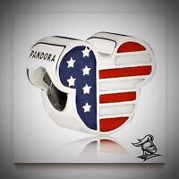 Authentic Genuine Pandora Silver Mickey Americana Disney Charm - 791585enmx
