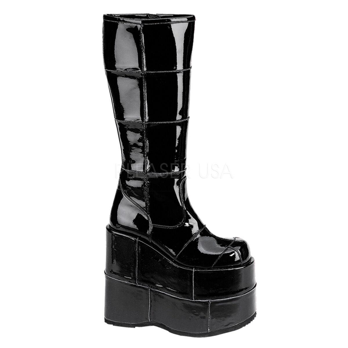 Demonia Pila 301 Damas Negro Negro Negro Patente Punk Goth Cuña Plataforma botas Infierno Vegano  todos los bienes son especiales