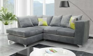 Details about *** BRAND NEW*** Lush Modern Grey Black Fabric Corner Sofa  Cheap LEFT RIGHT 3 2