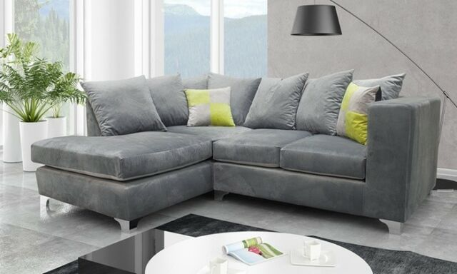 Pleasant Brand New Lush Modern Grey Black Fabric Corner Sofa Cheap Left Right 3 2 Dailytribune Chair Design For Home Dailytribuneorg