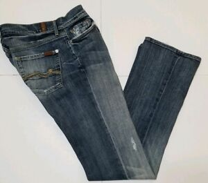 Men-039-s-Seven-for-all-Mankind-Slimmy-Blue-Jeans-30x33-Distressed-Straight-Leg