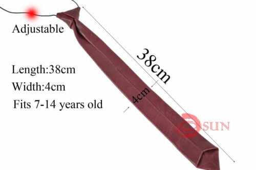 New Wine Red Faux Leather Neck Tie Boys Teenage 7-14 Years Old Wedding Party