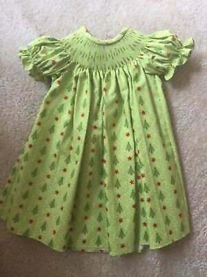 READY TO SMOCK TEAL PRINT SHORT SLEEVE BISHOP DRESSES SIZES 3MOS TO 4T
