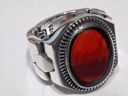 Turkish Ottoman Red Garnet Gemstone 925 Sterling Silver Men Ring