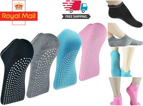 Non Slip Yoga Fitness Grip Socks Anti-Skid Cotton Pilates for Women Sport Gym UK