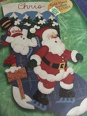 Bucilla Felt Applique Holiday Christmas Stocking KIT FROSTY LAKE Santa Snowman