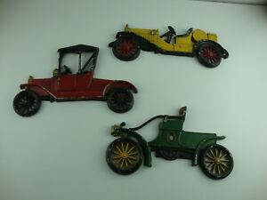 Details About Ton Metal Wall Art 3 Cast Aluminum Cars Hanging Decor Vintage