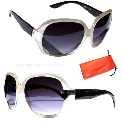Moderne Damen Sonnenbrille Transparent Weiß Schwarz Lila Linsen Italy Design 64w