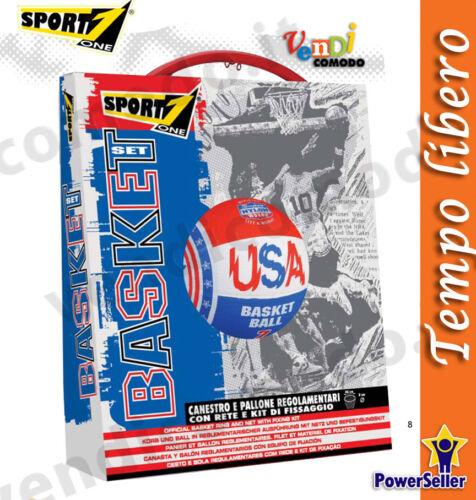 USA Basket Set SPORT ONE Canestro Regolamentare Palla Rete Pallacanestro Ball