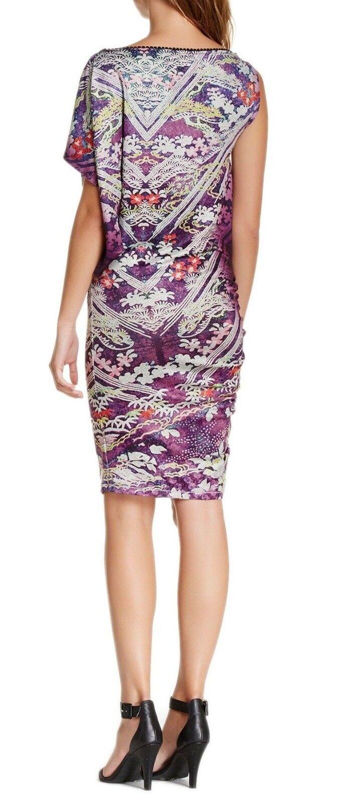 Custo Barcelona Habre Purple Purple Purple Dress Asymmetrical One Shoulder Kimono Sleeve S, M 93cb57