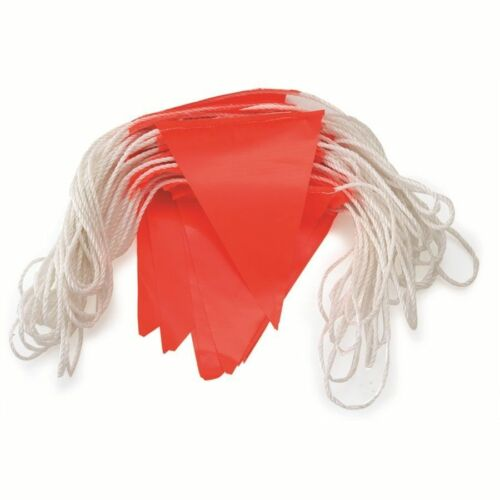 BUNTING FLAGGING 30m 45 Triangle Flags, Nylon Rope ORANGE 5 ROLLS