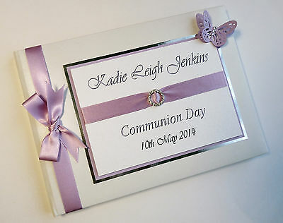 BABY BOYS/GIRLS CHRISTENING - NAMING DAY- LILAC GUEST BOOK/ALBUM - ANY COLOUR
