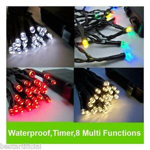 Led outdoor waterproof battery christmas lights string fairy timer 8 image is loading led outdoor waterproof battery christmas lights string fairy mozeypictures Images