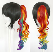 23'' Curly Pony Tail Clip Rainbow Cosplay Wig Clip Only NEW