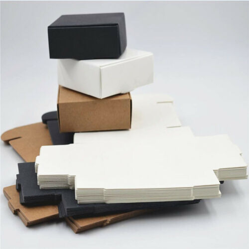 10PCS Jewelry Small Bottom Candy Handmade Box Square Kraft Paper Pack Wrapping