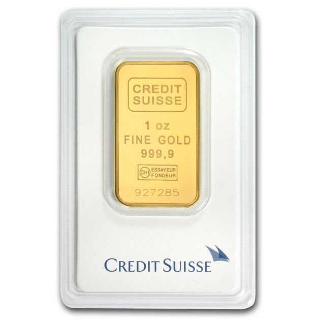 1 oz Credit Suisse Gold Bar .9999 Fine in Assay