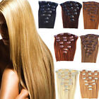 7 PZ Remy Hair SET ALLUNGAMENTO EXTENSION FASCIA CAPELLI VERI 100% 15 CLIP 40CM