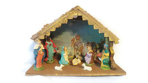 Vintage-Nativity-Chalkware-Plaster-Figurines-9-Piece-Set-Italy-Manger