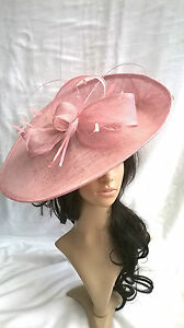 Girly Pink Sinamay Hatinator.hat.Large saucer disc Wedding.races ... da1e83d22c4