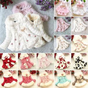 bimbo-bambino-bambine-pelliccia-finta-Giacca-in-Pile-Tuta-da-neve-caldo
