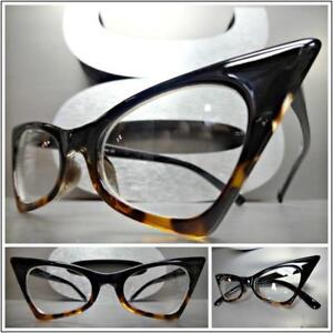 7260765acb9 CLASSIC VINTAGE RETRO CAT EYE Style Clear Lens EYE GLASSES Black ...