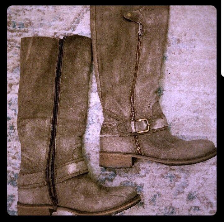 Damenschuhe Distressed MATISSE Größe 8.5 Braun/Grau Distressed Damenschuhe Leder Riding Stiefel a0b074
