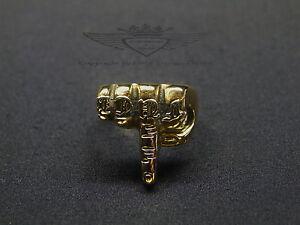 Toller-Ring-Edelstahl-in-24-Karat-vergoldet-034-F-ck-034-Finger-Gold-Bikerring-neu