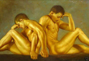 Oil painting nude naked male two young men gay portrait free shipping no reserve