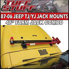 """48"""" BLACK FARM JACK & LOCKABLE HOOD HINGE MOUNT COMBO- 87-06 YJ TJ JEEP WRANGLER"""