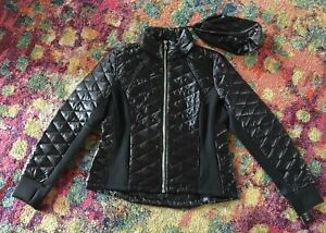 NWT-GUESS-Packable-Black-Long-Sleeve-Puffy-Jacket-w-Bag-and-Hidden-Hood-Sz-XL