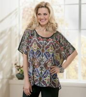 Womens Seventh Avenue Multi Color Stained Glass Blouse One Sz Fits Most Plus