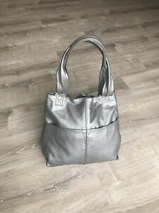 Silver Leather Bag With Pockets