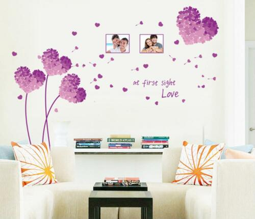 Purple Grass Green Love Removable Wall Stickers Bedroom Sitting Room Home Decor