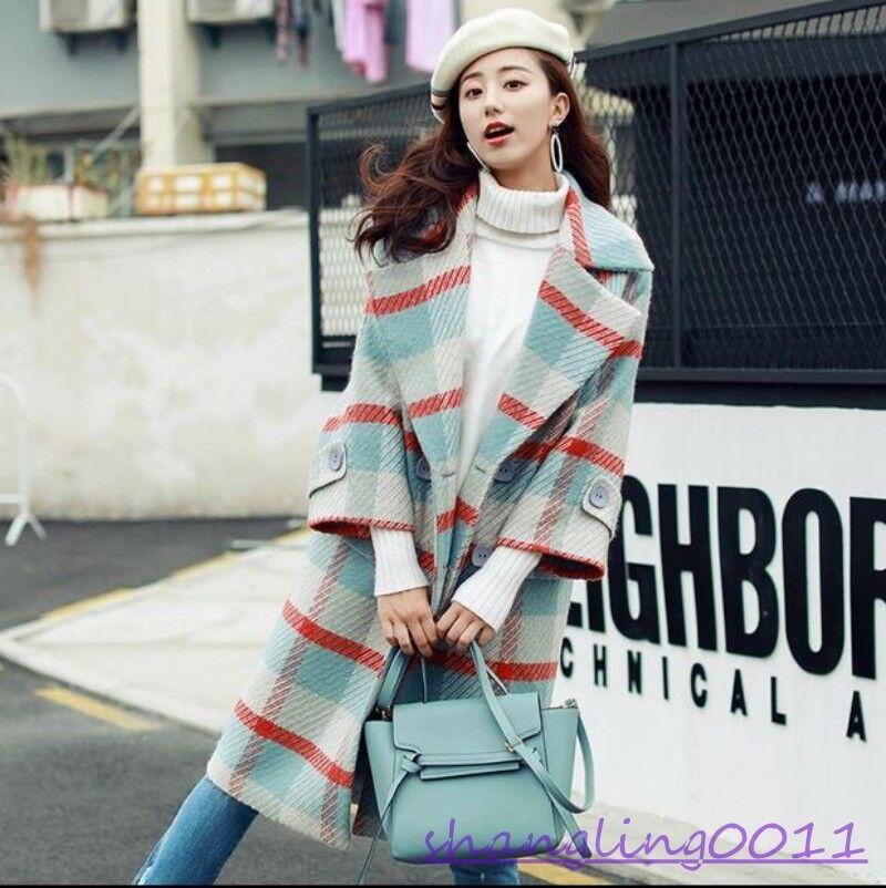 Womens Woollen Coat Grid Mid Length Lapel Collar Retro Parka Overcoat Warm Girls