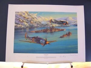 Eismeer-Patrol-Battleship-Tirpitz-Fw190-Saunders-Signed-Naval-Aviation-Art-LE