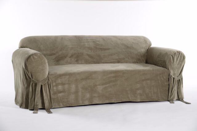 Velvet Sofa Slipcover Olive Green
