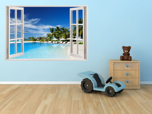 Huge Window Wall sticker Tropical Beach Palm Tree Vinyl Decor 3d Mural Art Home