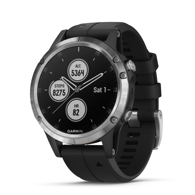 Garmin fenix 5 Plus 47mm Glass Multisport GPS Watch Silver/Black Band