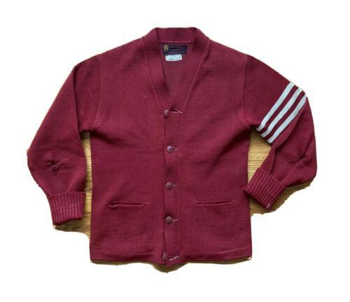40's/50's Letterman Sweater Knit Cardigan Button … - image 1
